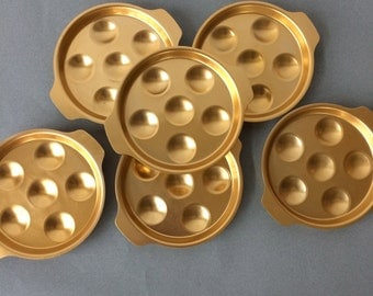 Vintage Tournus France Escargot Dish - set of 6 | brushed aluminum, escargot baking pans, gold cookware, french cookware, snail shell pan