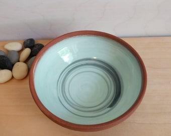 Mint Green Bowl - Light Green Bowl - Swirls - Green swirl - handmade ice cream bowl - handmade pottery bowl