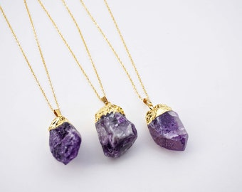Gold Dipped Amethyst Stone Pendant Necklace