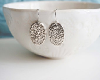 Silver Textured Pendant Earrings