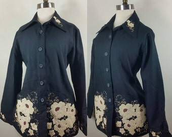 Midcentury Western Blouse with Jaw-dropping Appliqué and Embroidery M