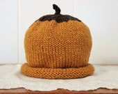 Toddler Size 12 to 24 Months Organic Cotton Hand Knit Acorn Hat