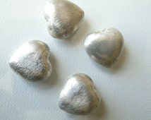 Large, Silver, Satin Brushed, Heart, Beads, Cushion, Puff, Vintage, 2 pcs