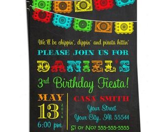 Chalkboard Mexican Fiesta Invitation - Papel Picado Bunting Personalized Birthday Invitation - You Print