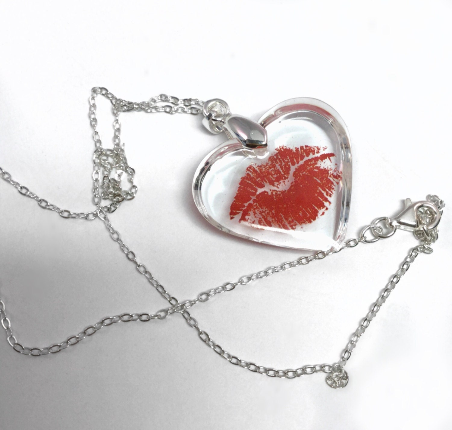 Clear Resin Heart Pendant Featuring Flirty Pouty Red Lips