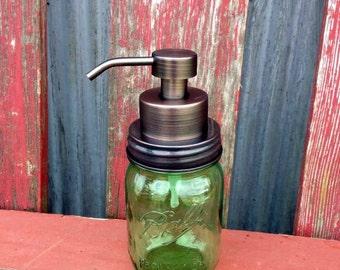 Bronze Mason Jar Foaming Soap Dispenser | Ball Pint Jar | Ball Mason Jar Soap Dispenser | Foaming Silver Soap Pump | Eco Friendly