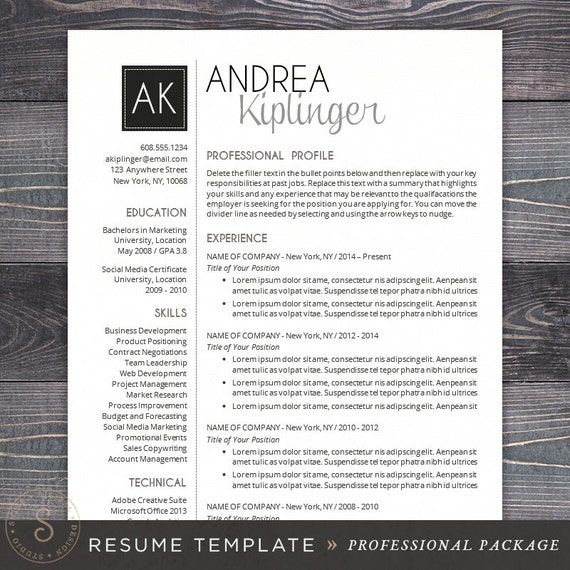 cv template for word mac or pc professional resume