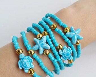 Friendship Bracelet - Boho Chic - Stretch Bracelets - turtle and starfish - ocean jewelry - sea - light blue bracelet - layering stack boho