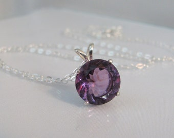 Round Amethyst Necklace, February Birthstone Pendant, 11mm Amethyst Gemstone, Sterling Silver, Amethyst Jewelry, Purple Gemstone Necklace