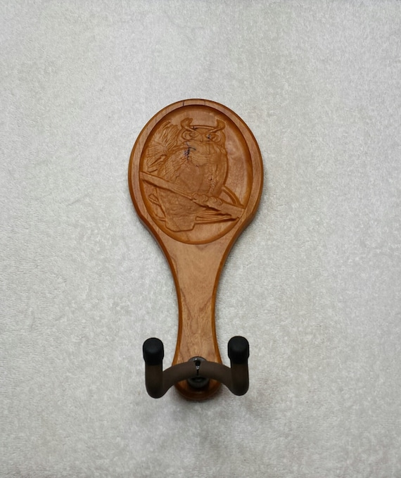 Guitar hanger owl carving homemade usa wall by