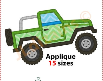 Offroad Car Applique Design. Offroad embroidery design. Off road car embroidery. Applique offroad. Car embroidery. Machine embroidery design