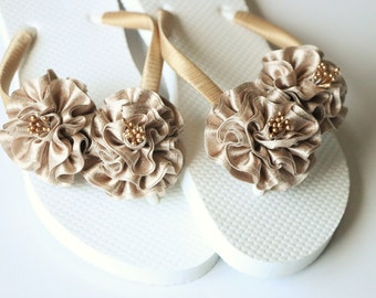 Bridesmaid Flip Flops, BRIDAL Flip Flops, WEDDING Flip Flops,Chiffon Flower, Bridesmaid Gifts, Bridal Party Gift