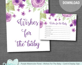 Purple Watercolor Floral Wishes For The Baby Printable Baby Shower Game, Instant Download, Baby Wishes, Flowers, Girl, Rustic, Activity,008A