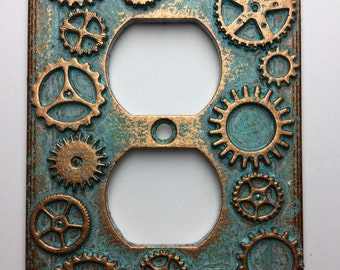 Gears (Steampunk) Outlet Cover - Aged Copper/Patina or Stone