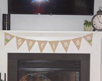 Spring Decor- Easter Decor- Home Decor- Spring Sign- Burlap Bunting- Spring Garland- Easter Decoration- Welcome Spring- Spring Bunting