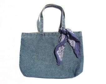 Denim Medium Wash Large Tote Bag, 90s Denim Laptop Tote Bag, Hobo Bag, Denim Tote Bag Vintage 90s Minimalist Denim Tote Bag, jean to