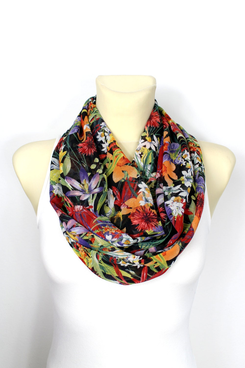 infinity scarf floral infinity scarf printed scarf unique