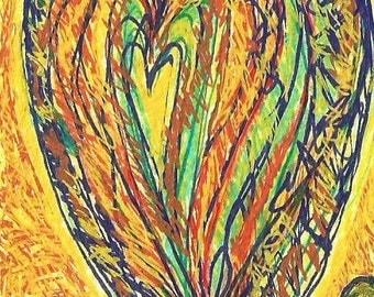 Heart ACEO, original, signed, miniature art work, handmade, yellow