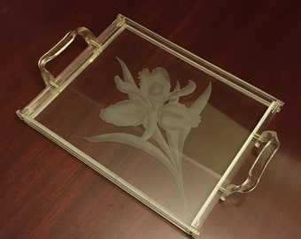 Mid Century Lucite glass Tray, Dorothy Thorpe style, Orchid Design, vintage etched glass serving tray, drinkware, Barware, Gift, unsigned