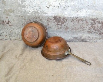 Copper miniature, old copper bakeware, old copper cookware, copper pan, copper mold, copper pudding mold, italian copper molds, copper forms