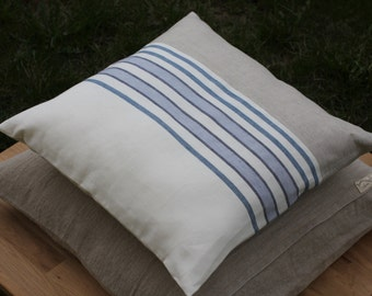 Linen Cushion Cover - Throw pillow 18x18 inches - Natural with White & Blue stripes - Pure Linen - Handmade in Lithuania - Eco-friendly