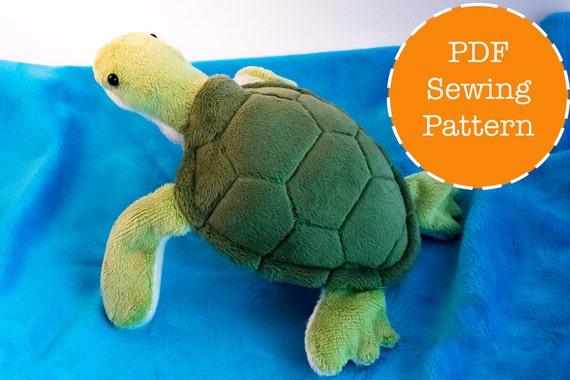 Free Sewing Pattern For Turtle Pillow: Sea turtle plush pattern stuffed animal sewing PDF,