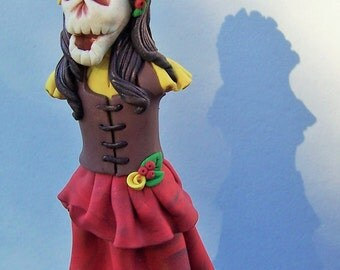Ghoulfriends -Off to Faire- Polymer Clay Sculpture- Stainless Steel Plant  Pick