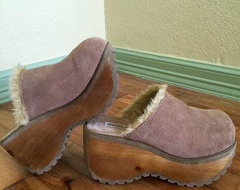 Soda 90s super high wooden platform clog size 10