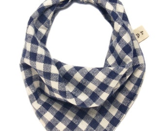 Blue and White Buffalo Plaid Dog Bandana, Plaid Flannel Puppy Bandanna, Checkered Doggy Scarf, Blue Gingham Pet Scarves, Fall Winter Tie On