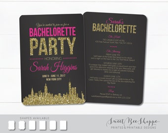 New York City Bachelorette Invite, NYC Bachelorette Party Invite, New York City Bachelorette Invitation, Bachelorette Party Invitation