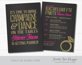 Bachelorette Invitation, Bachelorette Party Invite, Drink Champagne and Dance on Tables (Customizable & Printable) Black, Pink, Gold Glitter