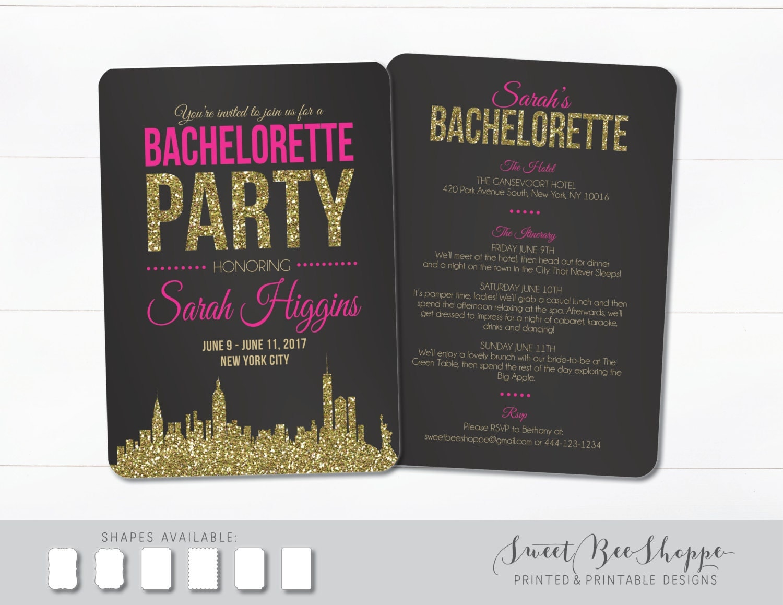 New York City Bachelorette Invite NYC Bachelorette Party – New York Party Invitations