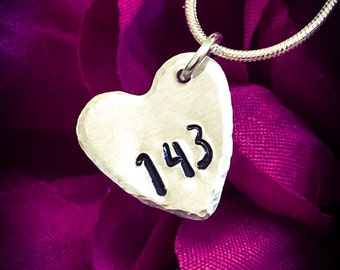 143 Hand Stamped Necklace / Pendant. Heart Necklace, I Love You Necklace, Love Necklace, Love Jewellery, Girlfriend Gift, Heart Jewellery
