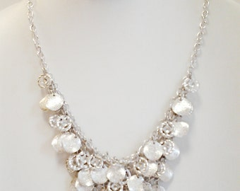 Silver Chain Cascade Necklace / Silver Crystal Stones Necklace / Bib Necklace.