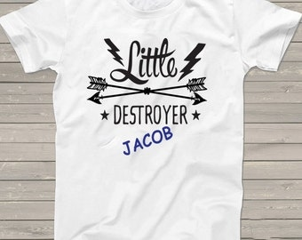 """Little Brother t-shirt personalized shirt """"Little Destroyer"""" Birthday tshirt boys funny 1, 2, 3, 4, 5, 6, 7, 8, 9th gift for him"""