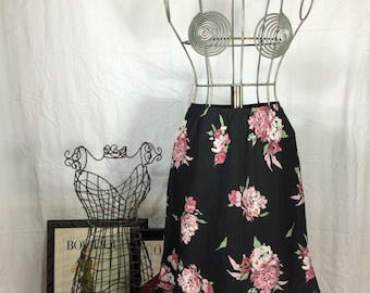 Vintage Floral Black and Pink Skirt