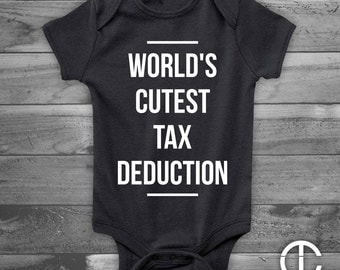 World's Cutest Tax Deduction Accountant Husband Infant Newborn, Funny Baby Shower Gift, Boy or Girl, Gender Reveal - White on Black Onesie