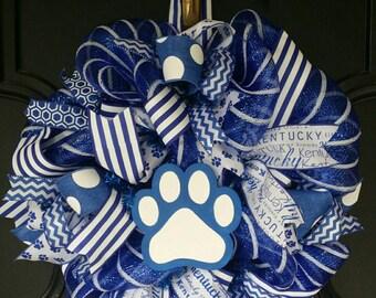 Kentucky Wildcats Big Blue Nation Go Cats Kentucky Wreath Wildcats Go Big Blue UK Wreath Deco Mesh Wreath Kentucky Wildcats