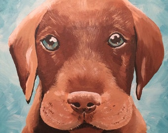 Chocolate Lab Print, Labrador painting, Dog print, Dog Decor, Labrador Puppy painting, Lab painting,