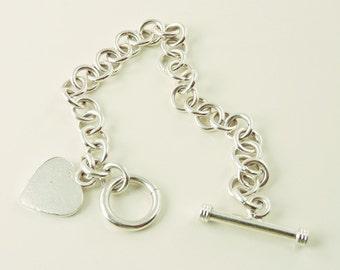 "Sterling Silver Chunky Heart Toggle Bracelet 7 1/2"" (27.4 grams)"