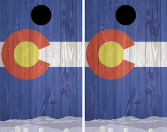 Colorado Cornhole Decal Wrap Set - Small Flag