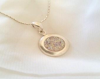 Round Agate Druzy Necklace, Handmade Drusy Necklace, wedding necklace,  birthday jewelry, druzzy Rainbow necklace,  sterling druzy necklace
