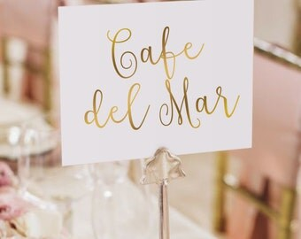 Gold Foil Table Names / Names Set - Two Sided - Gold Table Names - Wedding Table Names #TN1001