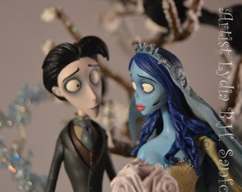 "CORPSE BRIDE ""Victor & Emily, Wedding Cake Topper (Ready To Ship)"