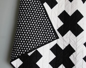 Custom Plus Sign Baby Quilt, Modern Quilt, Cross, Crib Quilt, Playmat