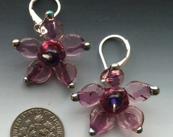 Secret Garden Earrings in pink: handmade glass lampwork beads with sterling silver components