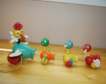 Fisher Price Wooden Pull Gabbie Goofies - Ducks 1956 Pull Toy