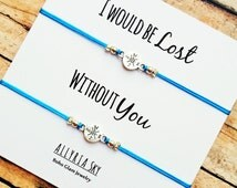 """Compass Friendship Bracelet Set with """"I Would Be Lost Without You"""" Card 