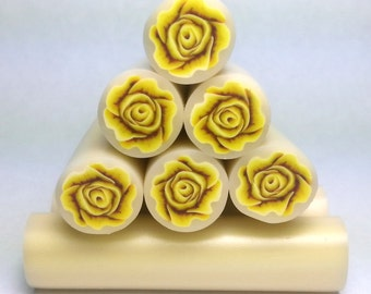 Yellow 3D Rose Cane, Raw Unbaked Cane, Polymer Clay Cane, Millefiori Cane, Flower Cane, Floral raw cane.