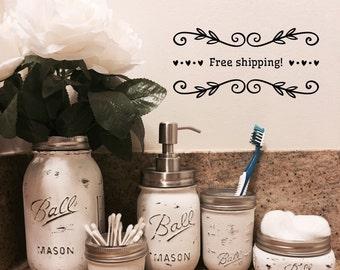 Mason jar bathroom etsy for Bathroom jar ideas